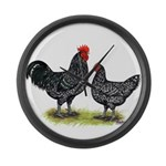 Java Rooster and Hen Giant Clock