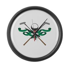 Green Ribbon Golf Emblem Giant Clock