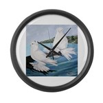 White Trumpeter Pigeons Giant Clock