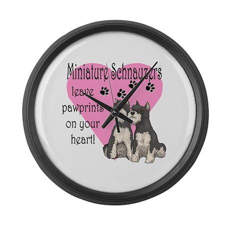 Miniature Schnauzer Pawprints Giant Clock By Jillyjaxpetart