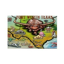 Fort Worth TEXAS Map 11X17 Magnets