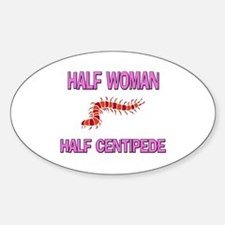 Half Woman Half Centipede Oval Decal