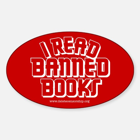 """""""Banned Books"""" Oval Decal"""
