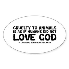 Quote - Newman - Love God Oval Decal