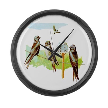 Purple Martin Bird Large Wall Clock