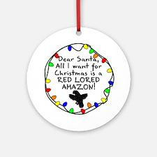 Dear Santa Red Lored Amazon Christmas Ornament