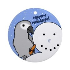 Snowman Congo African Grey Christmas Ornament