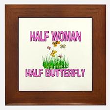 Half Woman Half Butterfly Framed Tile