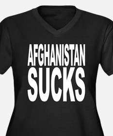 Afghanistan Sucks Women's Plus Size V-Neck Dark T-