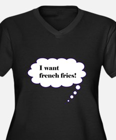Baby French Fry Thoughts Women's Plus Size V-Neck