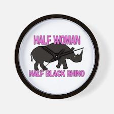 Half Woman Half Black Rhino Wall Clock