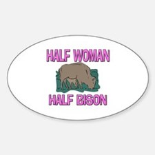 Half Woman Half Bison Oval Decal