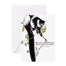 Black & White Ruffed Lemur Greeting Card