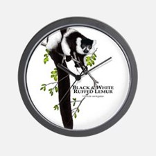 Black & White Ruffed Lemur Wall Clock