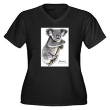 Koala Women's Plus Size V-Neck Dark T-Shirt