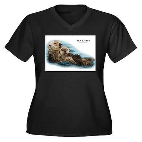 Sea Otter Women's Plus Size V-Neck Dark T-Shirt