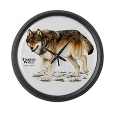 Timber Wolf Large Wall Clock