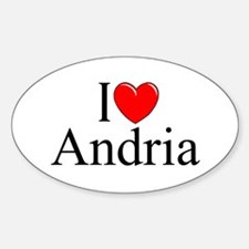 """""""I Love (Heart) Andria"""" Oval Decal"""