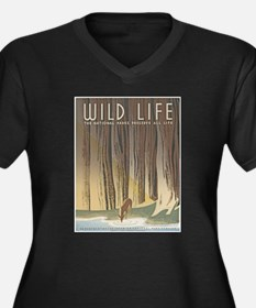 Wild Life Women's Plus Size V-Neck Dark T-Shirt