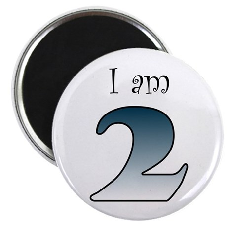 "I am 2 (navy blue) 2.25"" Magnet (100 pack)"