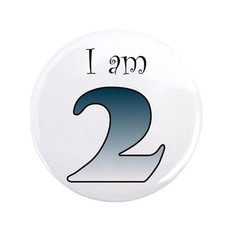 """I am 2 (navy blue) 3.5"""" Button (100 pack)"""