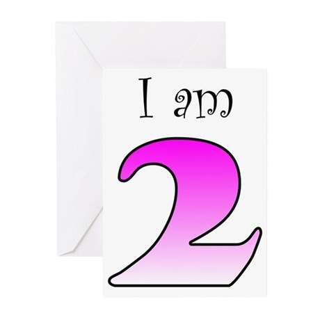 I am 2 (pink) Greeting Cards (Pk of 20)
