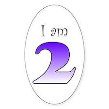 I am 2 (purple) Oval Decal