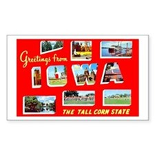Iowa Greetings Rectangle Stickers
