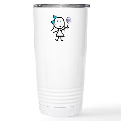 Girl & Lollipop Stainless Steel Travel Mug