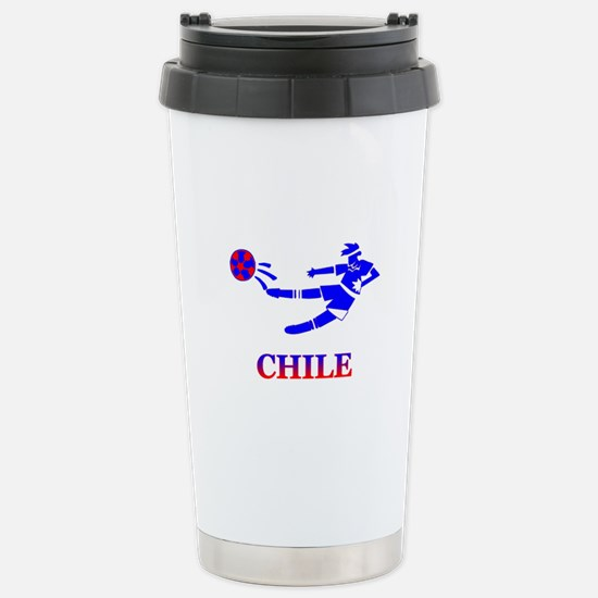 Chile Soccer Player Stainless Steel Travel Mug