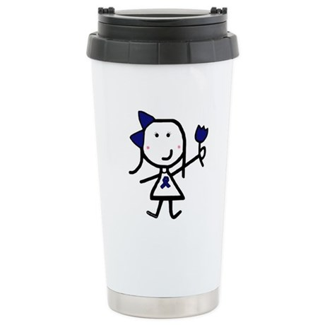Girl & Blue Ribbon Stainless Steel Travel Mug