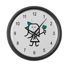 Girl & Teal Ribbon Large Wall Clock