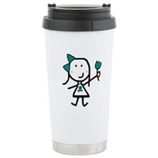 Girl & Teal Ribbon Travel Coffee Mug