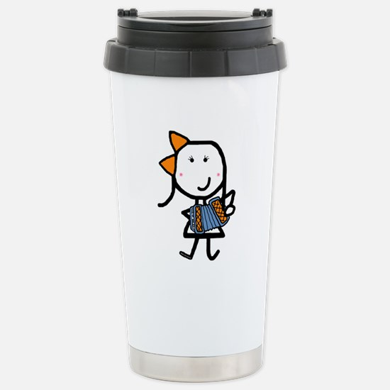 Girl & Accordion Stainless Steel Travel Mug