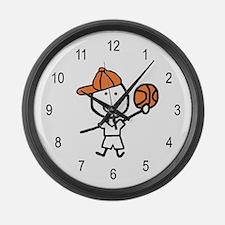 Boy & Basketball Large Wall Clock