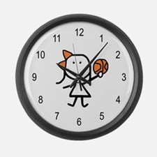 Girl & Basketball Large Wall Clock
