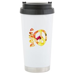 Flowery Orange Peace Travel Mug