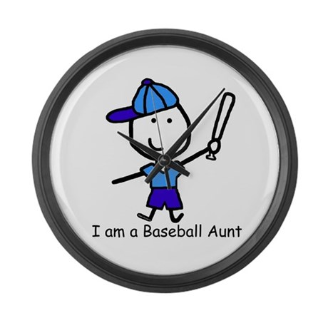 Baseball - Aunt Large Wall Clock