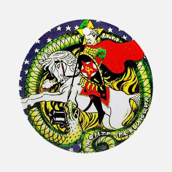 Trotsky Slaying the Dragon Ornament (Round)