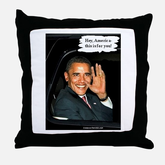 """Hey, America!"" Throw Pillow"