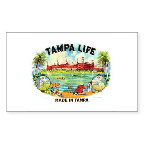 Tampa Life Vintage Cigar Ad Rectangle Sticker