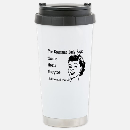 Their, They're, There Stainless Steel Travel Mug