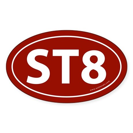 ST8 Euro Bumper Oval Sticker -White on Red