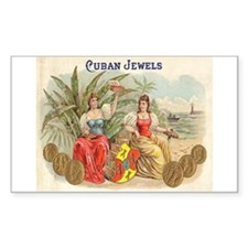 Cuban Jewels Cigar Art Rectangle Decal