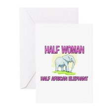 Half Woman Half African Elephant Greeting Cards (P