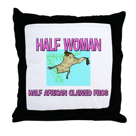 Half Woman Half African Clawed Frog Throw Pillow