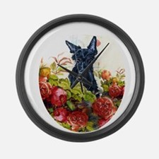 Scottish Terrier Roses Large Wall Clock