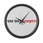 Runs With Vampires Large Wall Clock