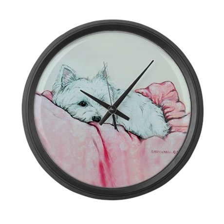 Napping Westie Large Wall Clock