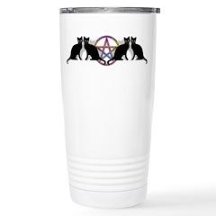 Black cat magic witch Stainless Steel Travel Mug